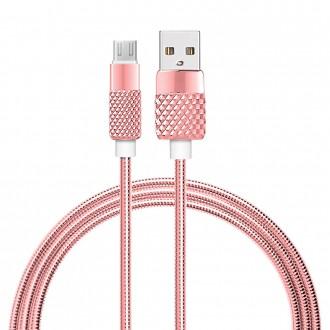 Cable USB Lightning en métal - Rose or