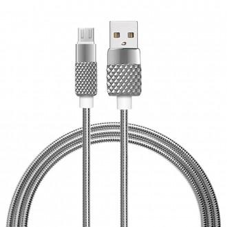 Cable USB Micro USB en métal - Argent